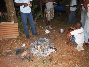 Roasting dumplin in Jamaica
